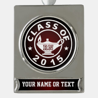 Class Of 2015 RN Silver Plated Banner Ornament