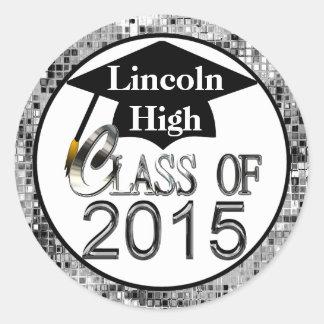 Class Of 2015 Sparkling Silver Graduation Seals Round Sticker