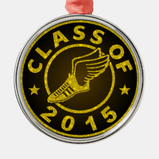 Class of 2015 Track Silver-Colored Round Decoration