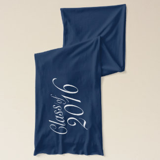 Class of 2016 Blue and White Elegant Graduation Scarf