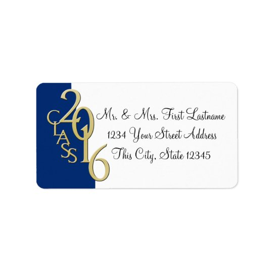 Class of 2016 Blue Gold Graduation Address Label