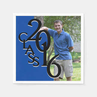 Class of 2016 Blue Grad Photo Paper Serviettes