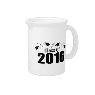 Class Of 2016 Caps And Diplomas (Black) Beverage Pitchers