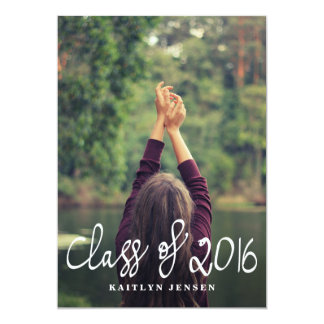 Class Of 2016 Casual Typography Graduate Photo Card
