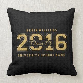 Class Of 2016 Gold Glitter On Black Pattern Cushion