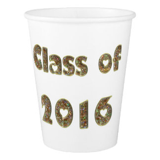 Class of 2016 Gold Glitter White Party Paper Cup