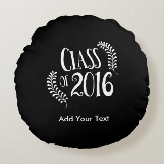 Class of 2016 Gothic Black and White Round Cushion