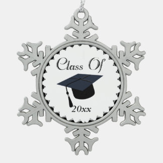 Class Of 2016 Graduation Cap Pewter Snowflake Decoration