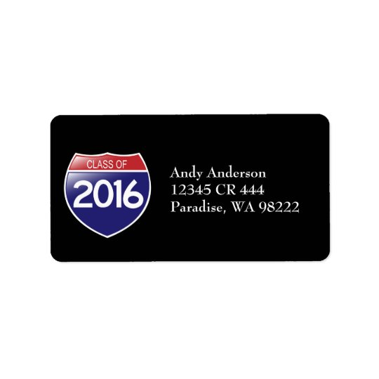 Class of 2016 Interstate Sign Address Label