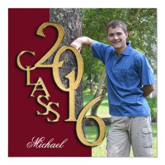 Class of 2016 Photo Graduation Burgundy Gold 13 Cm X 13 Cm Square Invitation Card