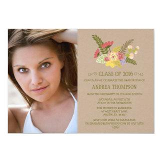 Class of 2016 photo kraft flowers graduation party card