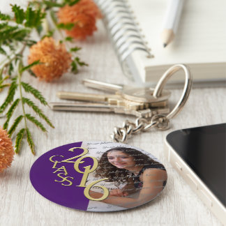 Class of 2016 Purple and Gold Photo Key Ring
