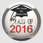 Class Of 2016 Red & Silver Graduation Stickers