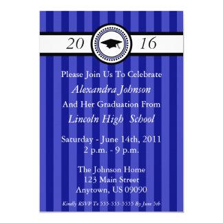 Class Of 2016 Stripes Graduation Invite (Blue)