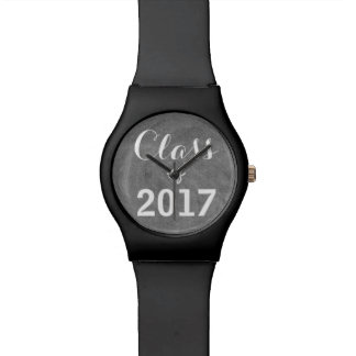 Class of 2017 Black White Chalkboard Typography Watch