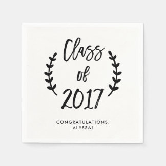 Class of 2017 Botanical Script Black and White Paper Napkins