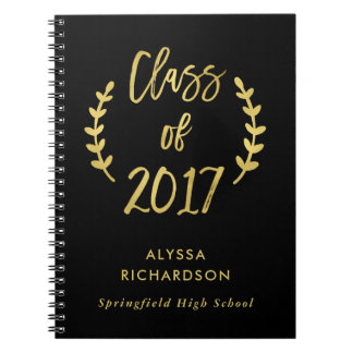 Class of 2017 Botanical Script Faux Gold on Black Spiral Notebooks
