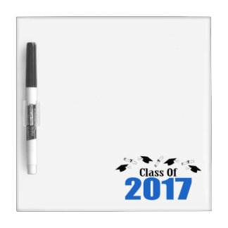 Class Of 2017 Caps And Diplomas (Blue) Dry-Erase Whiteboards