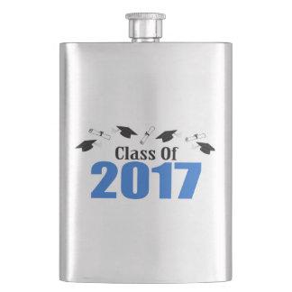 Class Of 2017 Caps And Diplomas (Blue) Hip Flask