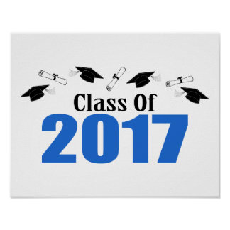 Class Of 2017 Caps And Diplomas (Blue) Poster
