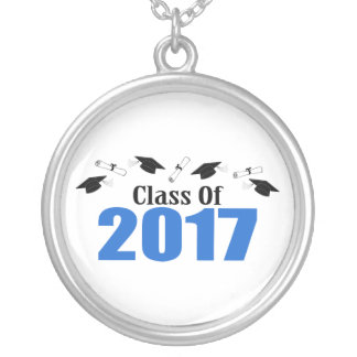 Class Of 2017 Caps And Diplomas (Blue) Silver Plated Necklace