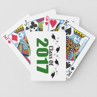 Class Of 2017 Caps And Diplomas (Green) Bicycle Playing Cards