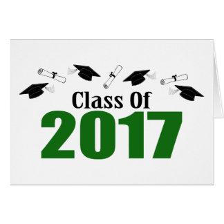 Class Of 2017 Caps And Diplomas (Green) Card