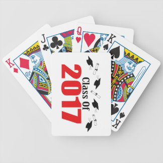 Class Of 2017 Caps And Diplomas (Red) Bicycle Playing Cards