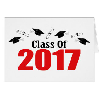 Class Of 2017 Caps And Diplomas (Red) Card