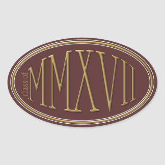 Class of 2017 Classic Roman Numerals Gold Oval Sticker