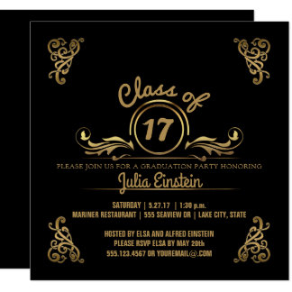 Class of 2017 Elegant Black Gold Graduation Party Card