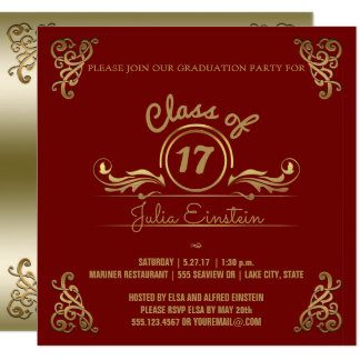 Class of 2017   Elegant Black Red Graduation Party Card