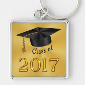 Class of 2017 Gold and Black Graduation Gifts Silver-Colored Square Key Ring