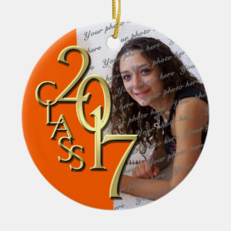 Class of 2017 Graduate Photo Orange Ceramic Ornament