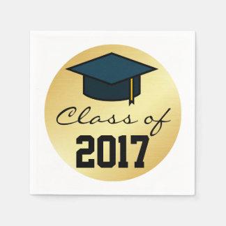 Class of 2017 Graduation Cap Napkin, Gold Black Disposable Serviettes