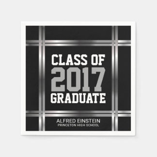 Class of 2017 Graduation Party | Black and Silver Disposable Napkin