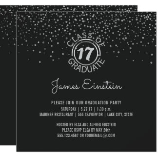 Class of 2017 Graduation Party   Black Silver Dots Card