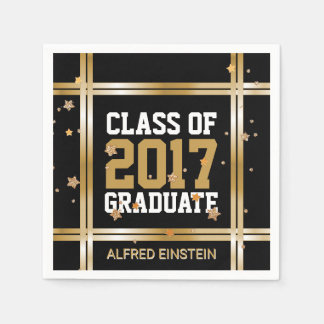 Class of 2017 Graduation Party Elegant Gold Stars Disposable Serviettes