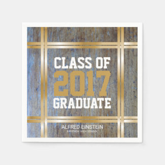Class of 2017 Graduation Party | Rustic Wood Gold Disposable Napkin