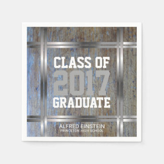 Class of 2017 Graduation | Rustic Wood Silver Disposable Napkins