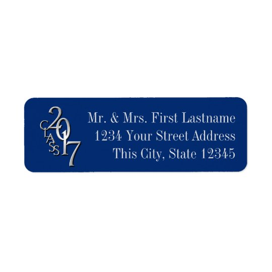 Class of 2017 Graduation Silver with Colour Choice Return Address Label