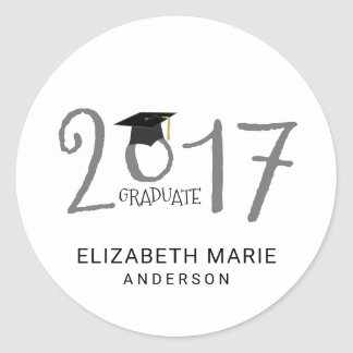 Class of 2017, Gray and Black Personalized Classic Round Sticker