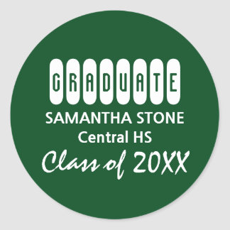 Class of 2017 Green White Graduation Envelope Seal Round Sticker