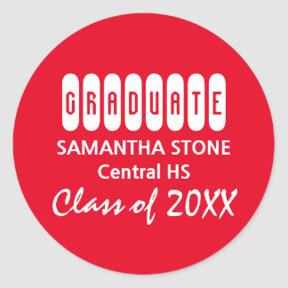 Class of 2017 Red & White Graduation Envelope Seal Round Sticker