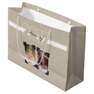 Class of 2017 Then & Now Photo Faux Glitter Effect Large Gift Bag