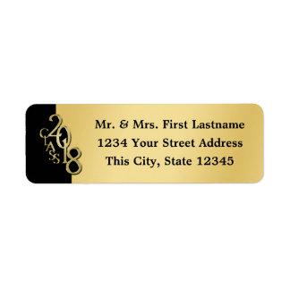 Class of 2018 Black and Gold Graduation Return Address Label