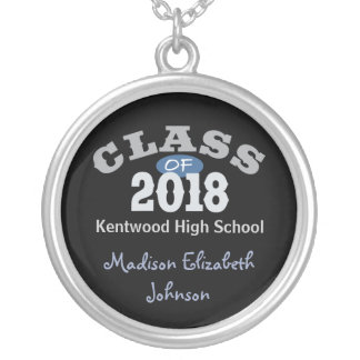 Class Of 2018 Blue Silver Plated Necklace