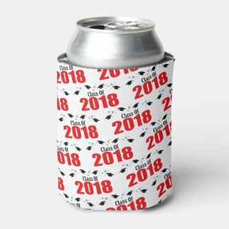 Class Of 2018 Caps And Diplomas (Red) Can Cooler