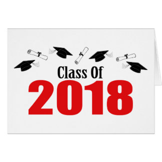 Class Of 2018 Caps And Diplomas (Red) Card