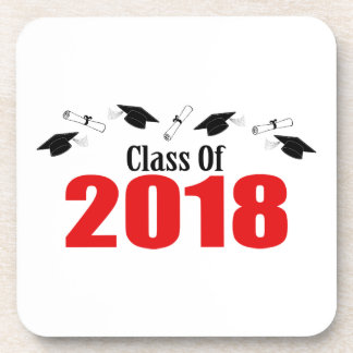 Class Of 2018 Caps And Diplomas (Red) Coaster